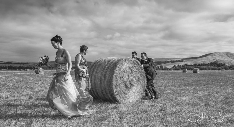 Image of bridal party with hay bales taken by Alicia Scott - Wairarapa wedding photographer
