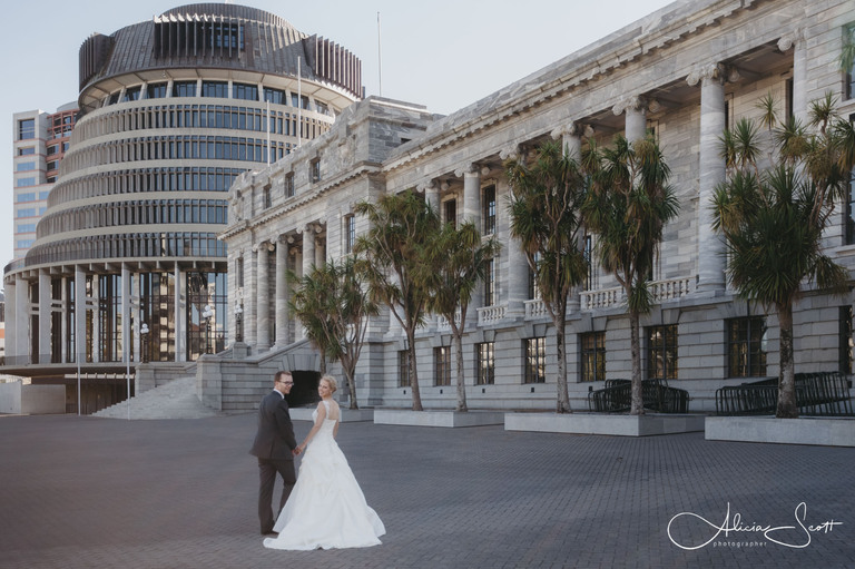 Photo of wedding couple outside Parliament taken by Alicia Scott, Wellington wedding photographer