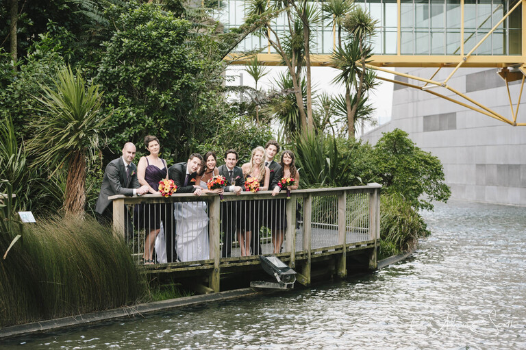 Photo of wedding party outside Te Papa taken by Alicia Scott, Wellington wedding photographer