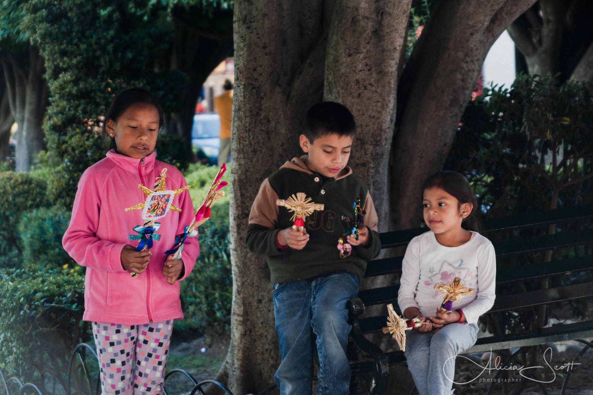 Children with Palm Sunday toys in San Miguel de Allende