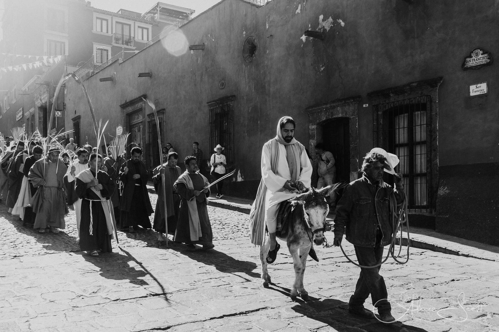 Jesus Christ on a donkey during Palm Sunday procession in San Miguel de Allende's Semana Santa 2019