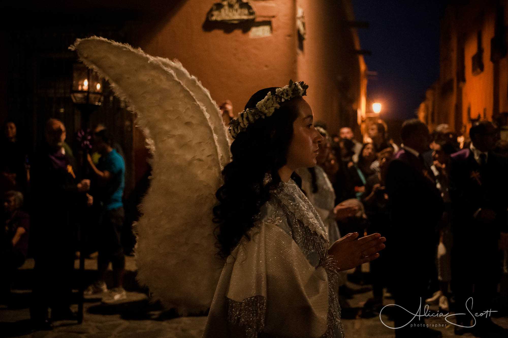 Angelita during the Easter Procession of the Holy Burial - part of Semana Santa (or Holy Week) in San Miguel de Allende, Mexico
