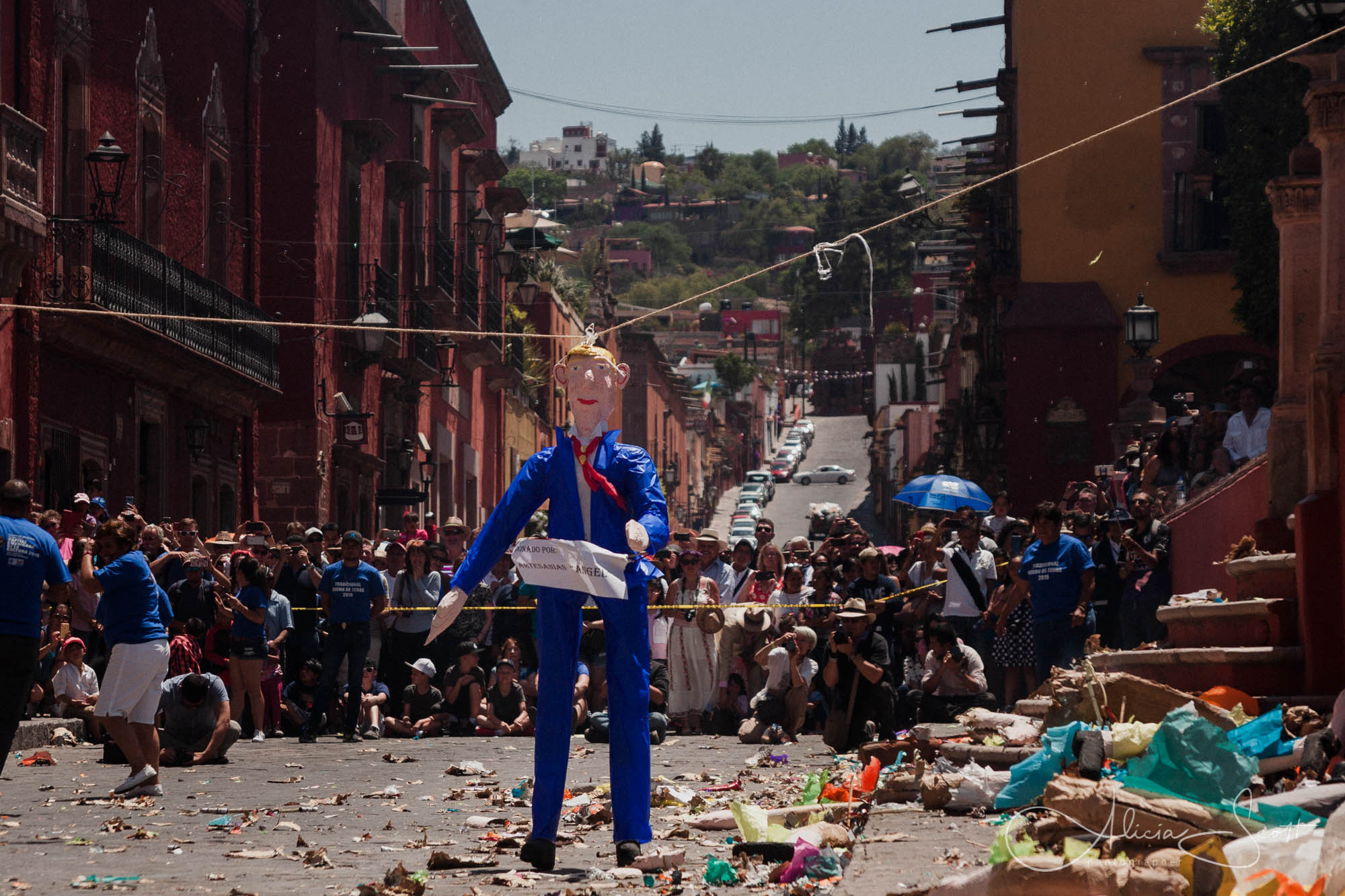 Donald Trump puppet during the Firing of the Judases ion Easter Sunday in San Miguel de Allende 2019